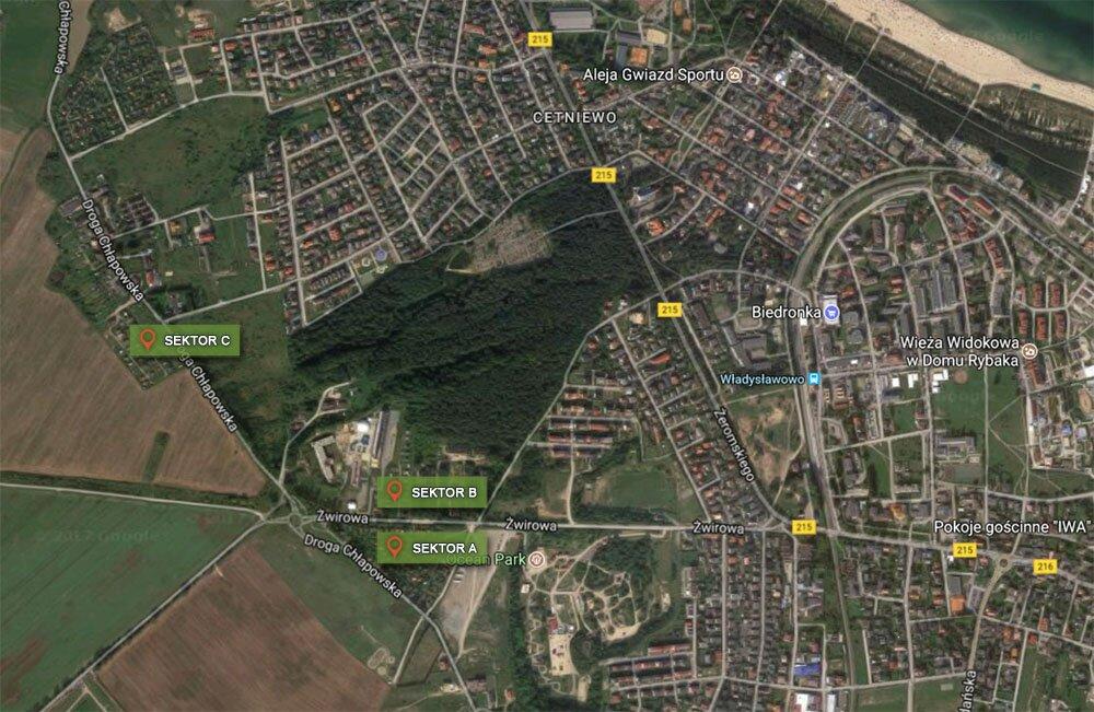 Sektory ogrodów A, B i C na mapie